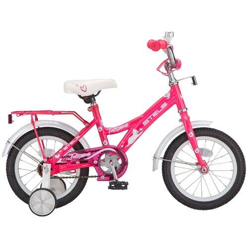Детский велосипед STELS Talisman Lady 14 Z010 (2019) розовый/белый (требует финальной сборки) детский велосипед stels jet 14 z010 2018 белый синий 8 5 требует финальной сборки