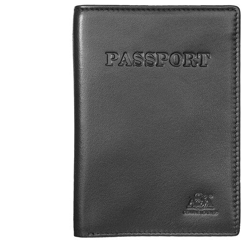 Обложка на паспорт с отделением для купюр, карт и визиток A&M в фирменной подарочной коробке, 100% натуральная кожа, черный 6116Black