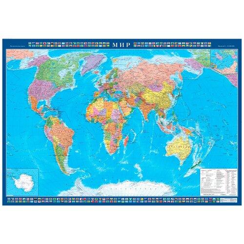 Атлас Принт Карта Мира политическая с флагами стран (4607051071193), 157 × 107 см