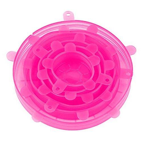 Набор силиконовых крышек 6 шт, розовый, Kitchen Angel KA-LID-04 крышка kitchen angel ka lid 05 зеленый