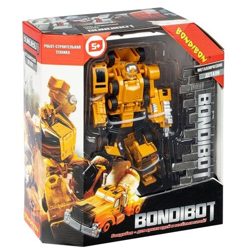 Трансформер 2в1 BONDIBOT робот-строит. техника (автомобильный кран), метал. детали, Bondibon BOX 21,