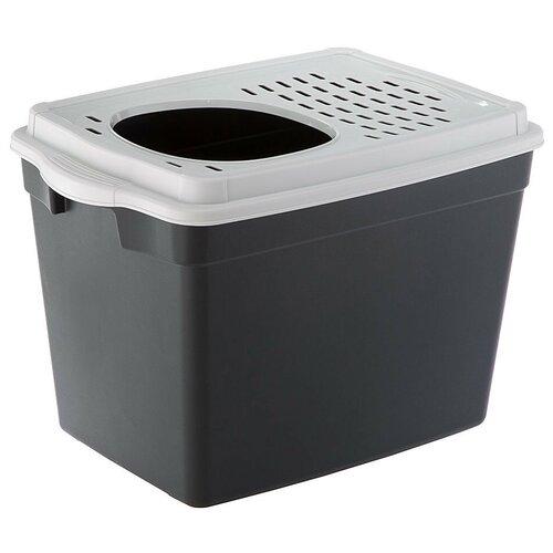 Туалет-домик для кошек Ferplast Jumpy 57.5х38.8х39 см черный