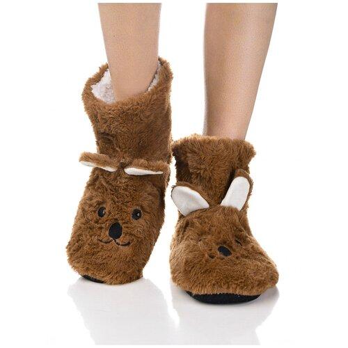 Плюшевые носки домашние Мишки с накладными ушками, противоскользящая подошва, внутренний подклад из искусственного меха, коричневый цвет, размер 36-38