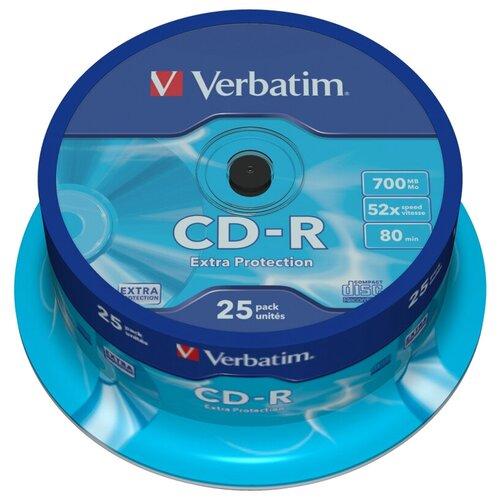 Фото - Диск CD-R Verbatim 700Mb 52x 25 шт. cake box диск cd r verbatim 700 mb 52x cake box 50 dl full ink printable 50 200 43438