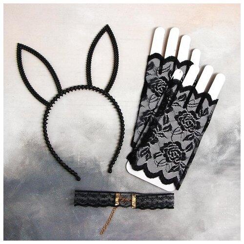 Карнавальный набор Мисс очарование ободок, чокер, перчатки 5169389