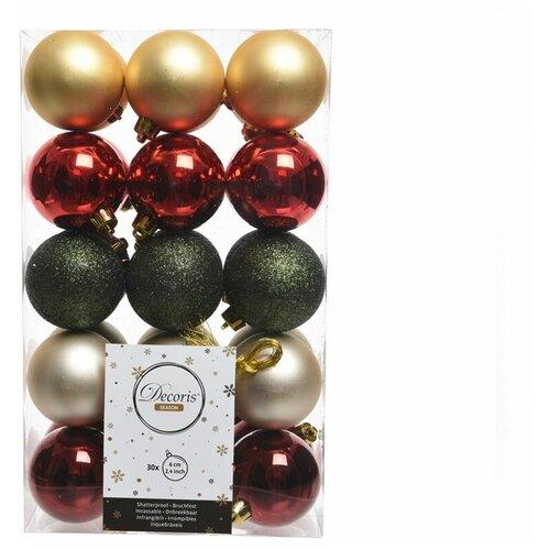 Фото - Набор пластиковых шаров рождественский микс, матовые, глянцевые, глиттер, 60 мм, упаковка 30 шт., Kaemingk 020118 набор пластиковых шаров new year mix красный бордовый 60 мм упаковка 12 шт kaemingk 023573