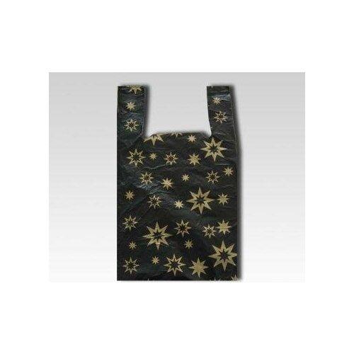 Пакеты-майка Звезды черные, 38(+22)x68 см, 50 штук