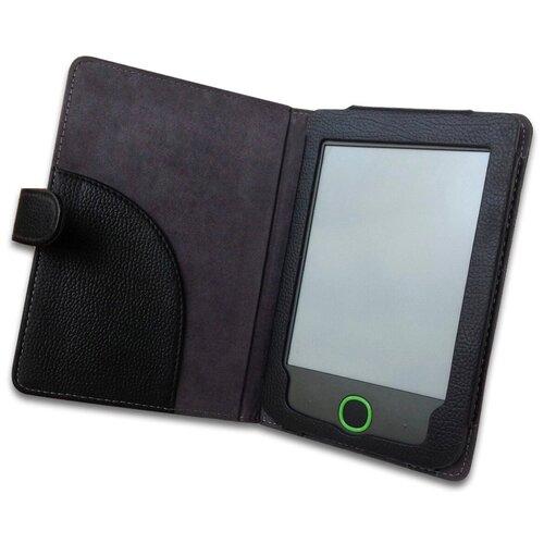 Чехол-обложка футляр MyPads для PocketBook 614 Basic 2 из качественной эко-кожи с визитницей и кармашком черный