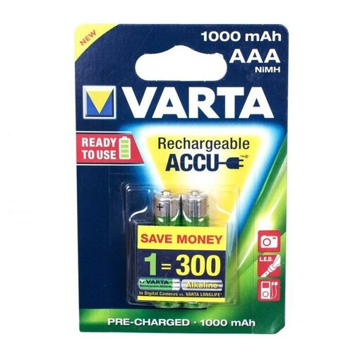 Аккумуляторы Varta ААА Ni-MH 1000 мАч, 2 шт.