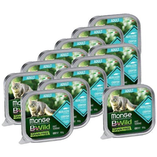 Monge Cat BWild GRAIN FREE беззерновые консервы из трески с овощами для взрослых кошек 100г х 12 шт.
