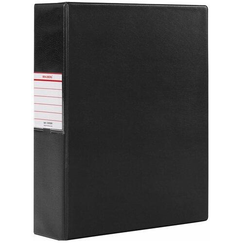 Фото - Папка на 2 кольцах Brauberg картон/ПВХ, 75 мм, черная, до 500 листов (228389) brauberg папка на 2 х кольцах a4 картон пвх 35 мм синий