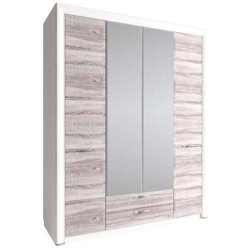 Шкафы в молодежную Anrex Шкаф 4D2S Z, OLIVIA, цвет вудлайн крем/дуб анкона