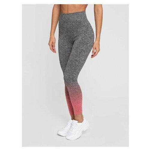 Спортивные женские лосины (леггинсы), тайтсы для фитнеса Lunarable темно-серый, красный, размер 46