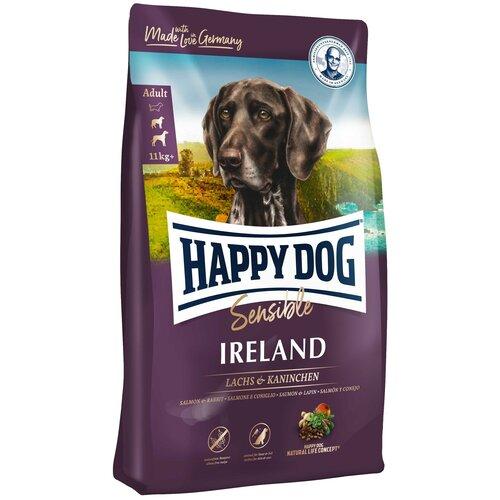 Сухой корм для собак Happy Dog Supreme Sensible Ireland при чувствительном пищеварении, лосось, кролик 4 кг (для средних и крупных пород) корм сухой happy dog тоскана для собак средних и крупных пород с уткой и лососем 4 кг