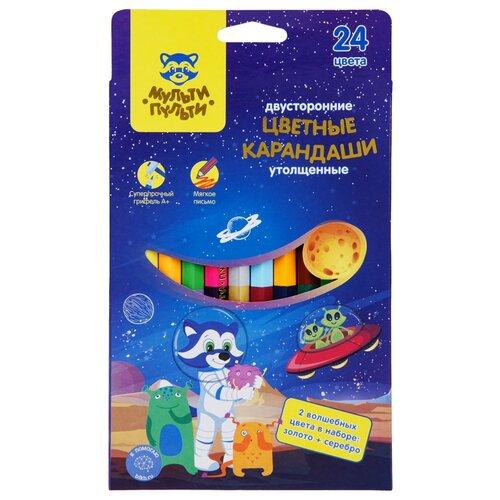 Мульти-Пульти Карандаши цветные двусторонние Енот в космосе, 24 цвета (CP_33722) мульти пульти карандаши цветные енот в испании 24 цвета cp 10758