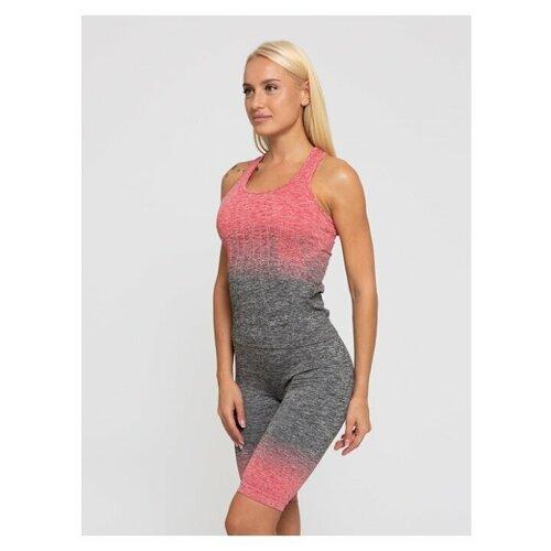 Женский спортивный топ (майка) для фитнеса Lunarable темно-серый, красный, размер 44