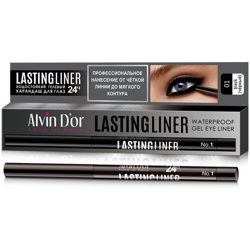 Купить Alvin D'or карандаш для глаз гелевый водостойкий Lastingliner P-14, оттенок 01 черный
