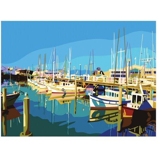 Купить Картина по номерам 40х50 см, ОСТРОВ СОКРОВИЩ Яхты на пристани , на подрамнике, акриловые краски, 3 кисти, 662470, Остров сокровищ, Картины по номерам и контурам