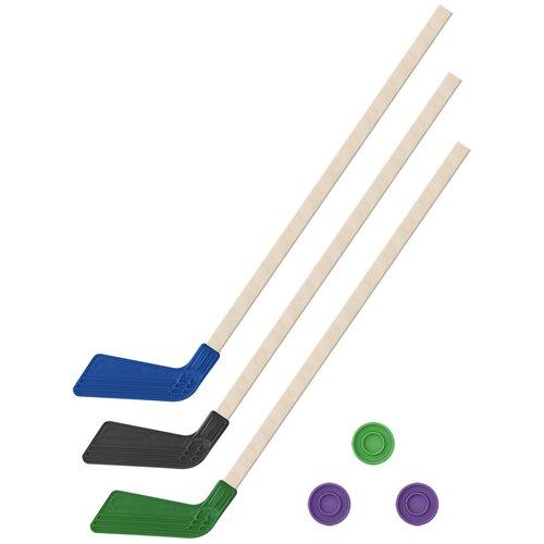 Детский хоккейный набор зима,лето 3 в 1/ Клюшки хоккейных 80 см (синяя, черная, зеленая) + 3 шайбы, Задира-плюс