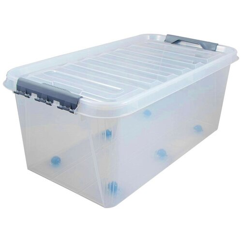 Ящик для хранения на колесах с защелками на крышке ПРОФИ Комфорт 55 литров прозрачный Полимербыт ящик для хранения полимербыт с крышкой прозрачный пластик 16л