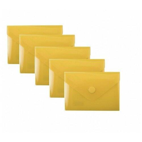 Папка-конверт с кнопкой МАЛОГО ФОРМАТА (74х105 мм), А7 (для дисконтных, банковских карт, визиток) прозр, желтая, 0,18 мм, BRAUBERG, 227324 (5 штук) 227324-5