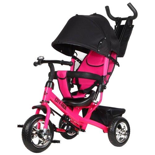 Купить Велосипед детский трехколесный City-Ride, колеса пластиковые 10/8, поворотное сиденье, колясочная крыша с окошком, регулируемая спинка, звонок, тормоз задних колес, велосипед для детей, для малышей, с родительской ручкой, бампер, багажник, цвет розовый, Трехколесные велосипеды