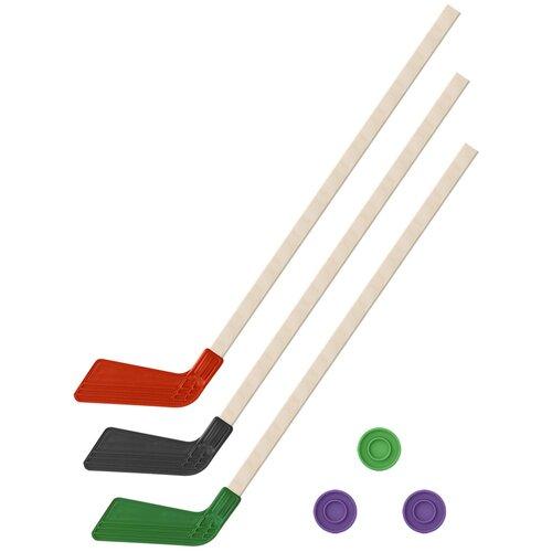 Детский хоккейный набор зима,лето 3 в 1/ Клюшки хоккейных 80 см красная, черная, зеленая +3 шайбы, Задира-плюс