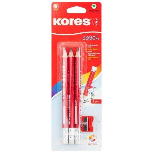 Kores Набор чернографитных карандашей Jumbo HB с ластиком и точилкой 3 шт. (246167)