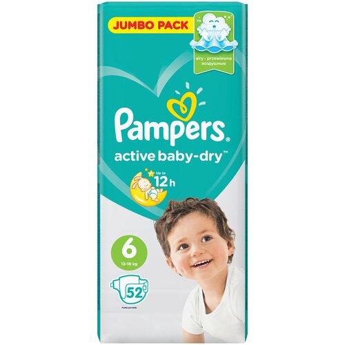 Фото - Pampers подгузники Active Baby-Dry 6 (13-18 кг), 52 шт. pampers подгузники new baby dry 1 2 5 кг 27 шт