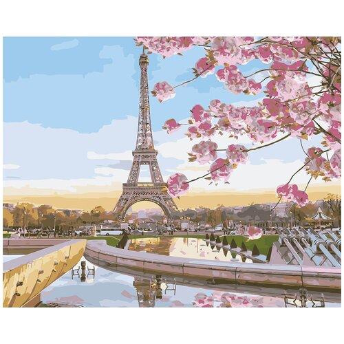 Купить Цветной Картина по номерам Цветущий Париж 40х50 см (MG2133), Картины по номерам и контурам