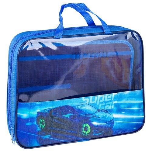 ArtSpace Папка с ручкамина на молнии Super car А4, полиэстер синий недорого
