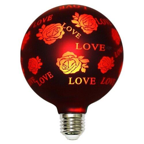 ЛАМПОЧКА СВЕТОДИОДНАЯ ФИЛАМЕНТНАЯ GIS-SOLAR 3D-G125-E27-2Вт-220В-RED LOVE