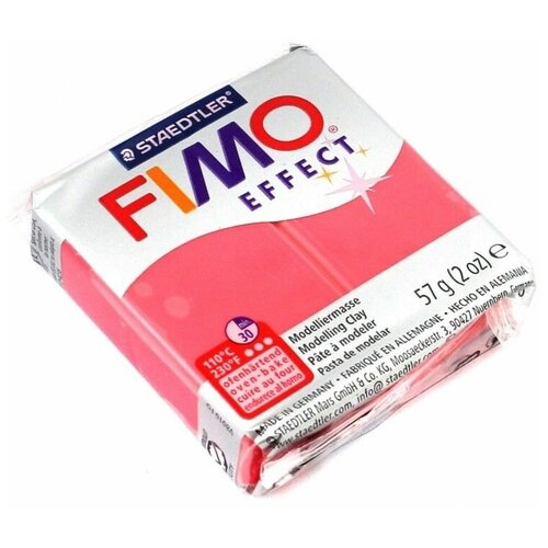Купить Полимерная глина FIMO Effect запекаемая полупрозрачный красный (8020-204), 57 г, Глина