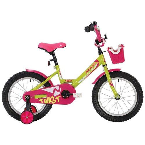 Фото - Детский велосипед Novatrack Twist 16 (2020) с корзиной салатовый/розовый (требует финальной сборки) детский велосипед novatrack twist 20 2020 зеленый требует финальной сборки