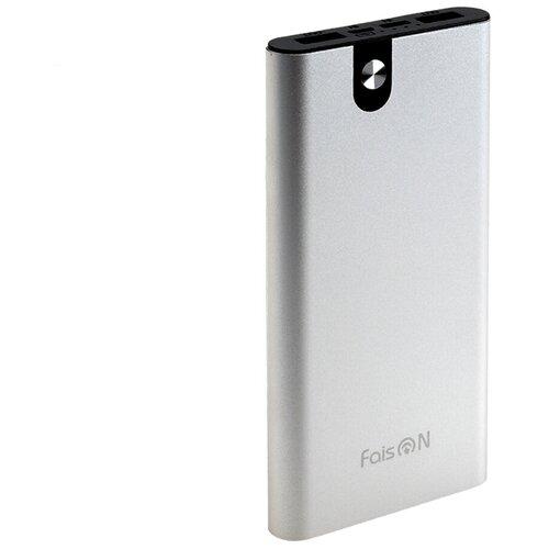 Аккумулятор внешний FaisON FS-PB-905 Classic 10000mAh металл 2 USB выхода индикатор 2.1A цвет: серебряный