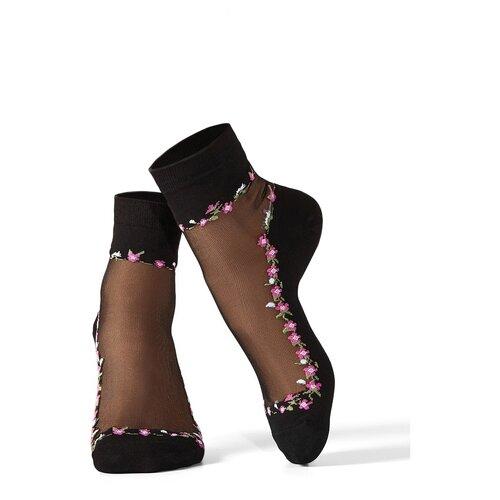 Носки с вышивкой Mersada (черный; розовый; травяной зеленый) 36-41