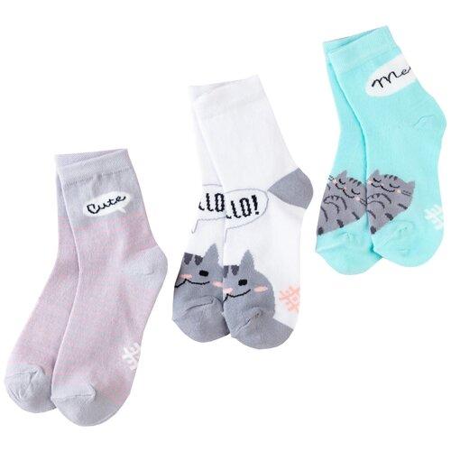 Купить Носки Kaftan Hello комплект 3 пары размер 18-20, белый/серый/зеленый