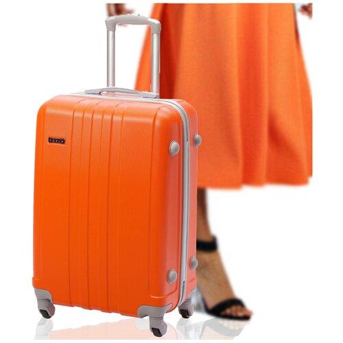 Чемодан недорого хорошего качества для ручной клади на колесах в самолете TEVIN, Оранжевый 0010, размер S, 37 л