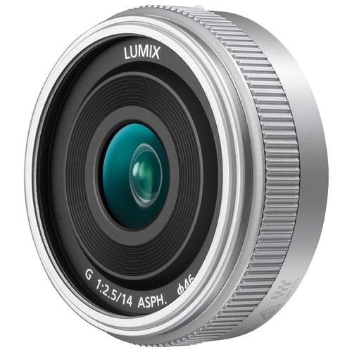 Фото - Объектив Panasonic 14mm f/2.5 II Aspherical (H-H014A) silver объектив panasonic lumix h hs043e k 42 5mm f 1 7 g aspherical power o i s h hs043e черный
