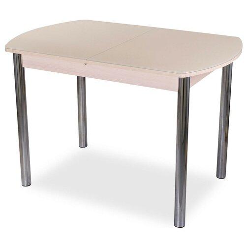 Стол кухонный Домотека Танго ПО 02, раскладной, ДхШ: 110 х 70 см, длина в разложенном виде: 147 см, МД ст-крем молочный дуб/крем 02 хром