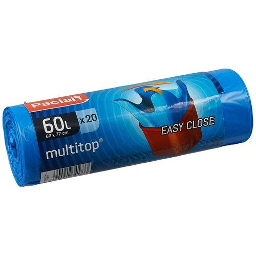 Фото - Мешки для мусора Paclan Multitop 60 л, 20 шт., синий мешки для мусора ароматизированные 35 л ушки желтые 20 шт пвд 66х50 см paclan multitop aroma 136881
