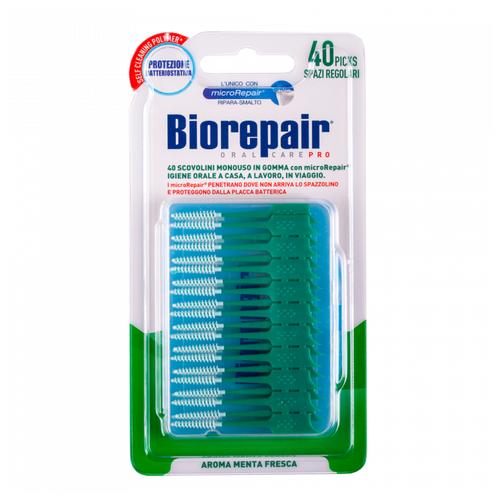 Набор съемных ершиков Biorepair Regular, зеленый/белый, 40 шт.