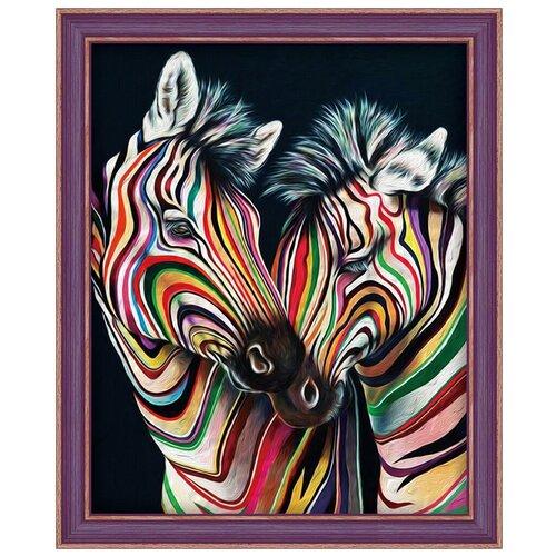 Купить Алмазная живопись Набор алмазной вышивки Цветные зебры (АЖ-1556) 40х50 см, Алмазная вышивка
