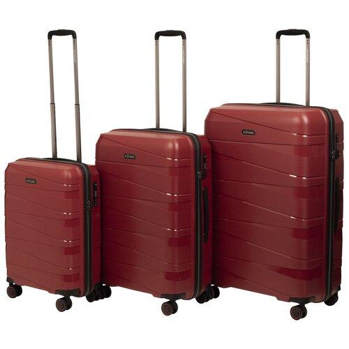 Комплект чемоданов L'case Prague Dark Red (бордовый) Комп. 3 шт. комплект чемоданов l case krabi red wine