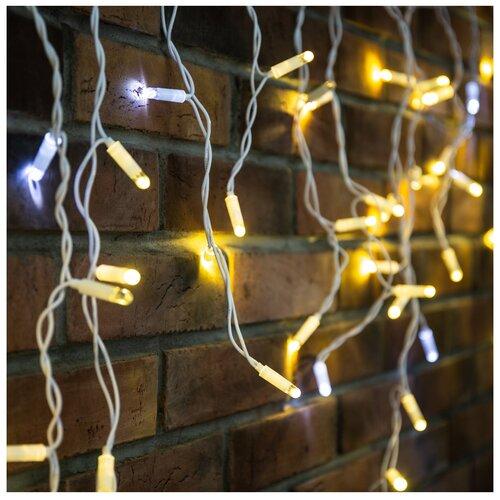 Фото - Гирлянда NEON-NIGHT Бахрома (Айсикл), 255-166, 480х60 см, 176 ламп, теплый белый/белый провод гирлянда neon night бахрома айсикл 255 245 560х90 см 240 ламп белый черный провод
