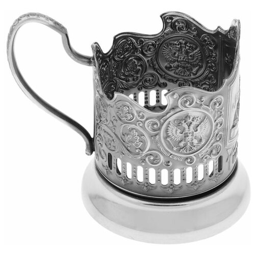 Кольчугинский мельхиор Подстаканник «Спасская башня», стакан d=6,1 см, никелированный, с чернением