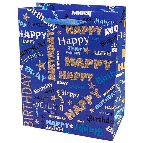 Пакет подарочный, С Днем Рождения! (стильные шрифты), Синий, с блестками, 32*26*12 см, 1 шт.