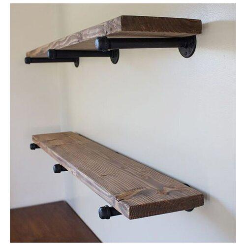 Деревянная полка в индустриальном (лофт) стиле