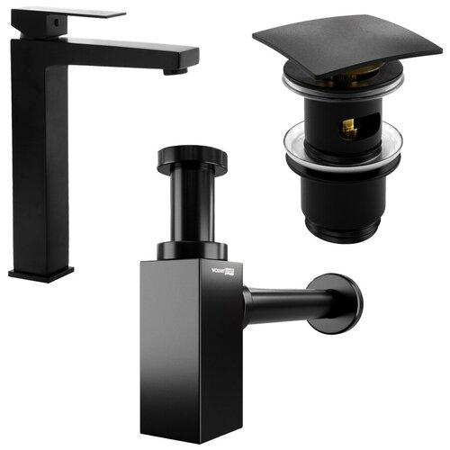 Фото - Комплект для ванной комнаты №2 (cмеситель для умывальника WasserKRAFT Abens 2003H, сифон для раковины, донный клапан ) цвет черный донный клапан полуавтоматический для ванны для раковины wasserkraft а024