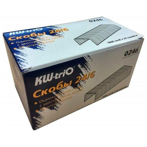 Фото - Скобы для степлера 24/6 Kw-Trio 0246/20 (упак.:20x1000шт.) упаковка скоб для степлера kw trio 0246 24 6 1000шт картонная коробка 20 шт кор